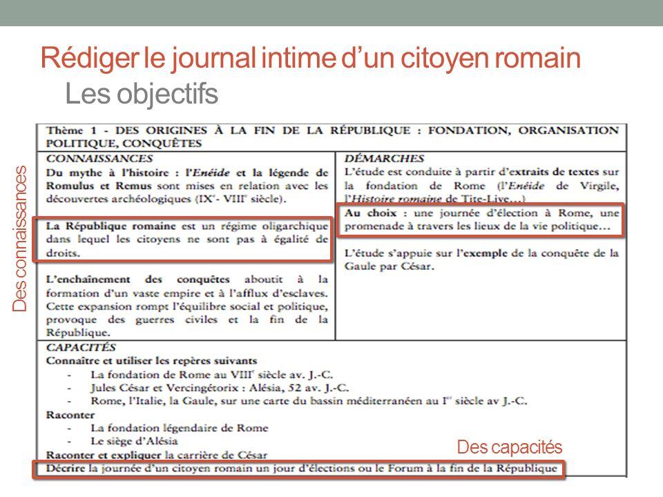 Rédiger le journal intime dun citoyen romain La consigne « Rédigez le journal intime dun habitant de Rome sous la période de la République.