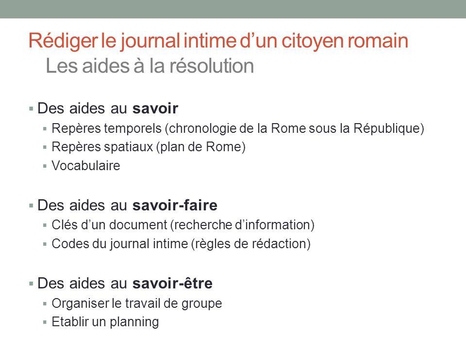 Rédiger le journal intime dun citoyen romain Les aides à la résolution Des aides au savoir Repères temporels (chronologie de la Rome sous la Républiqu
