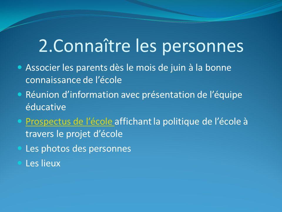2.Connaître les personnes Associer les parents dès le mois de juin à la bonne connaissance de lécole Réunion dinformation avec présentation de léquipe