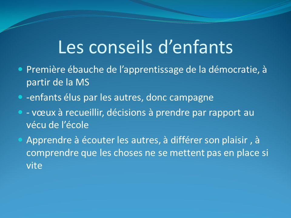 Les conseils denfants Première ébauche de lapprentissage de la démocratie, à partir de la MS -enfants élus par les autres, donc campagne - vœux à recu