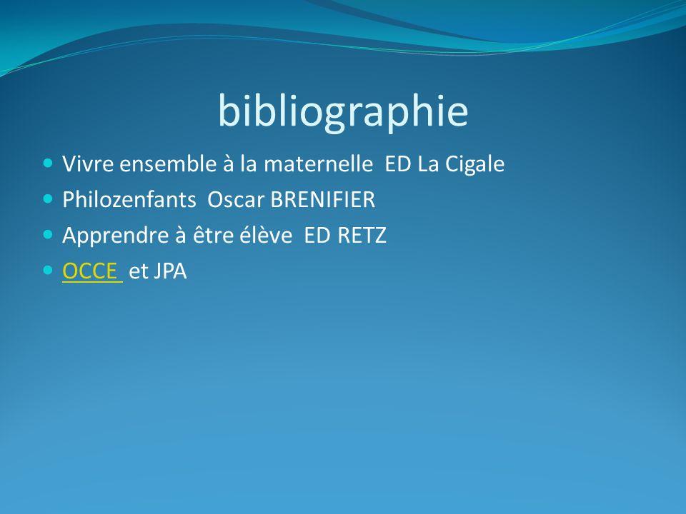 bibliographie Vivre ensemble à la maternelle ED La Cigale Philozenfants Oscar BRENIFIER Apprendre à être élève ED RETZ OCCE et JPA OCCE