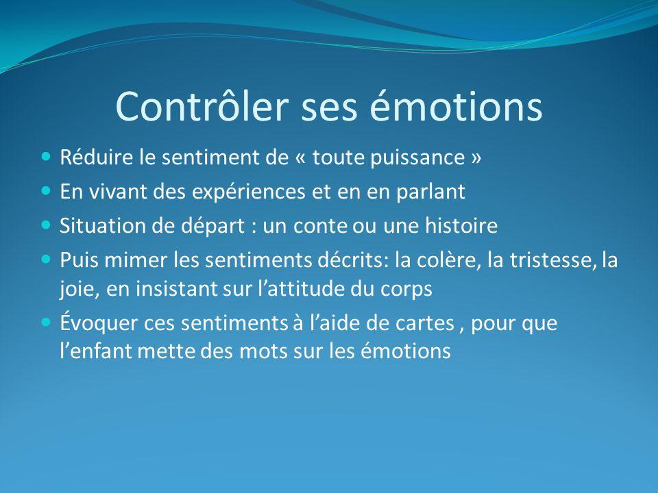 Contrôler ses émotions Réduire le sentiment de « toute puissance » En vivant des expériences et en en parlant Situation de départ : un conte ou une hi