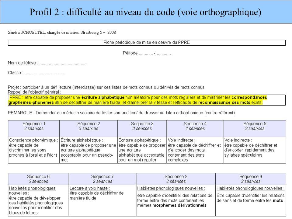 Profil 2 : difficulté au niveau du code (voie orthographique)
