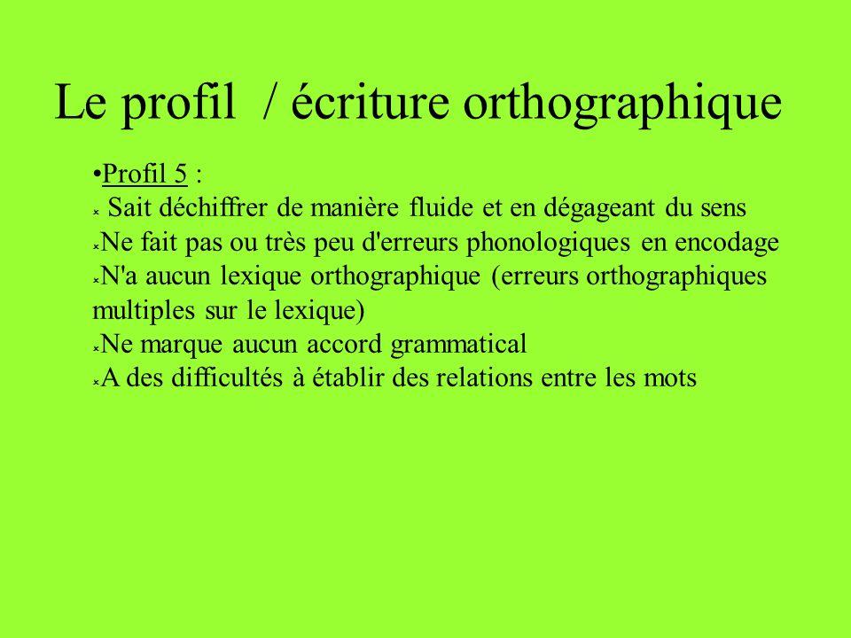 Le profil / écriture orthographique Profil 5 : Sait déchiffrer de manière fluide et en dégageant du sens Ne fait pas ou très peu d'erreurs phonologiqu
