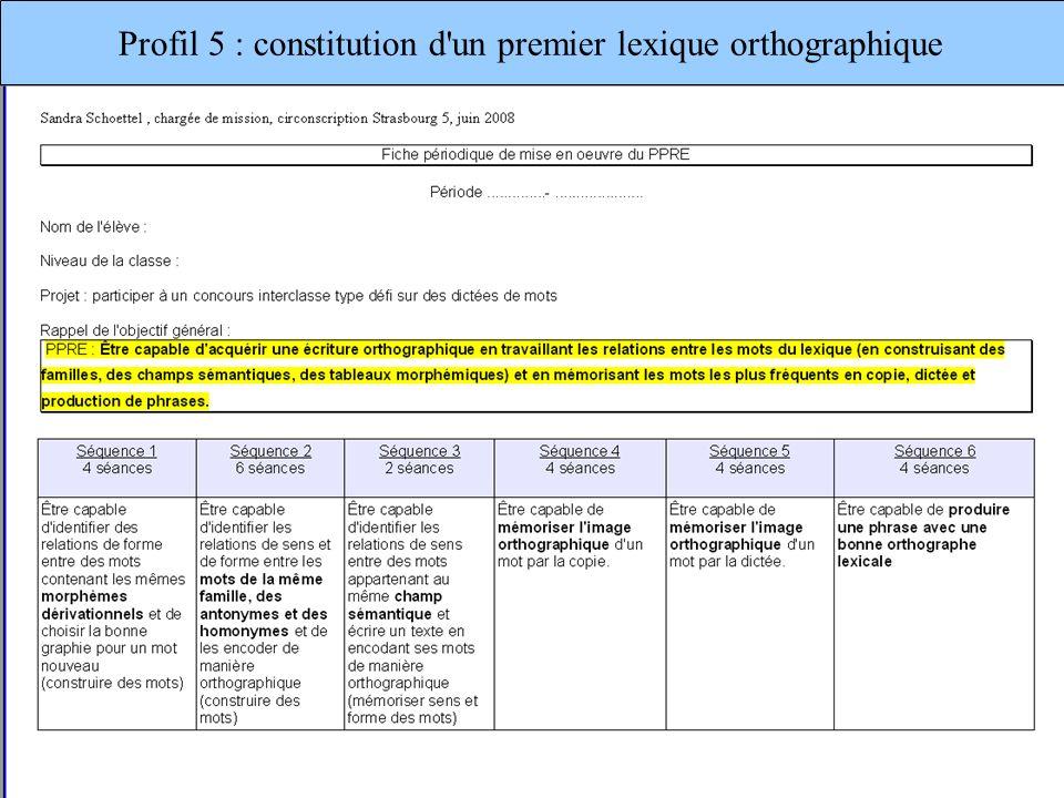 Profil 5 : constitution d'un premier lexique orthographique