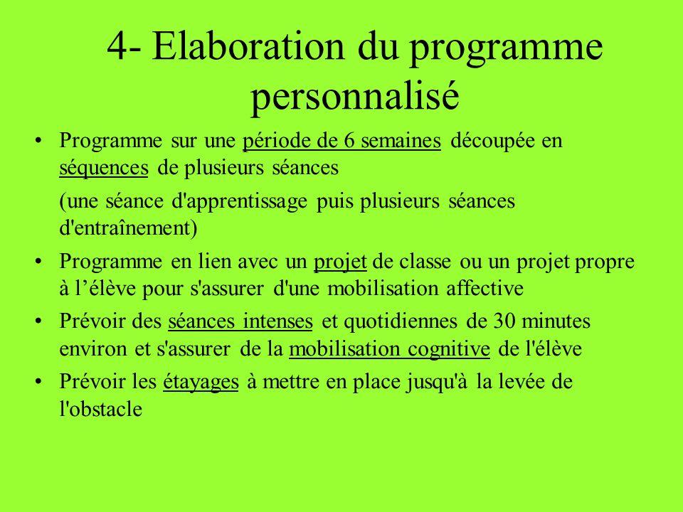 4- Elaboration du programme personnalisé Programme sur une période de 6 semaines découpée en séquences de plusieurs séances (une séance d'apprentissag