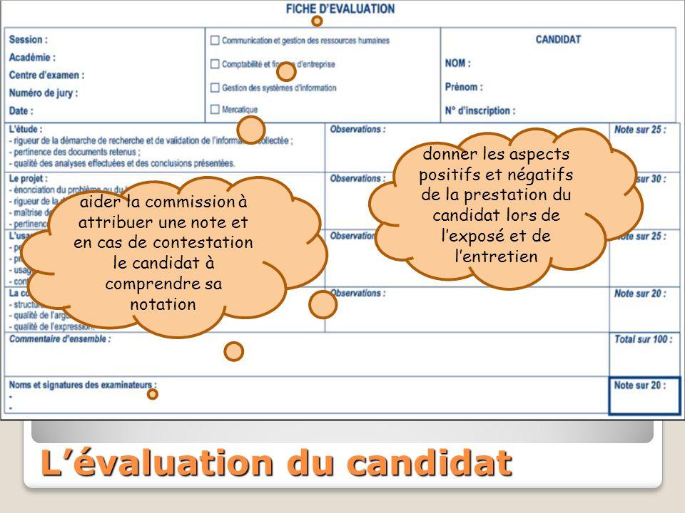 Lévaluation du candidat donner les aspects positifs et négatifs de la prestation du candidat lors de lexposé et de lentretien aider la commission à attribuer une note et en cas de contestation le candidat à comprendre sa notation