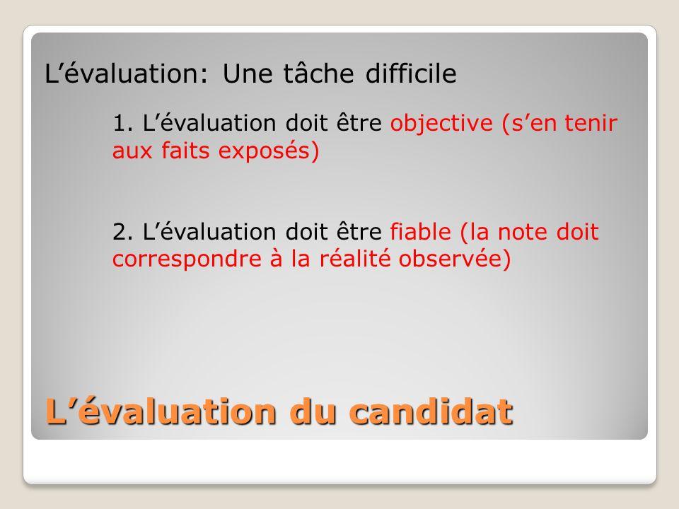 Lévaluation: Une tâche difficile 1. Lévaluation doit être objective (sen tenir aux faits exposés) 2. Lévaluation doit être fiable (la note doit corres