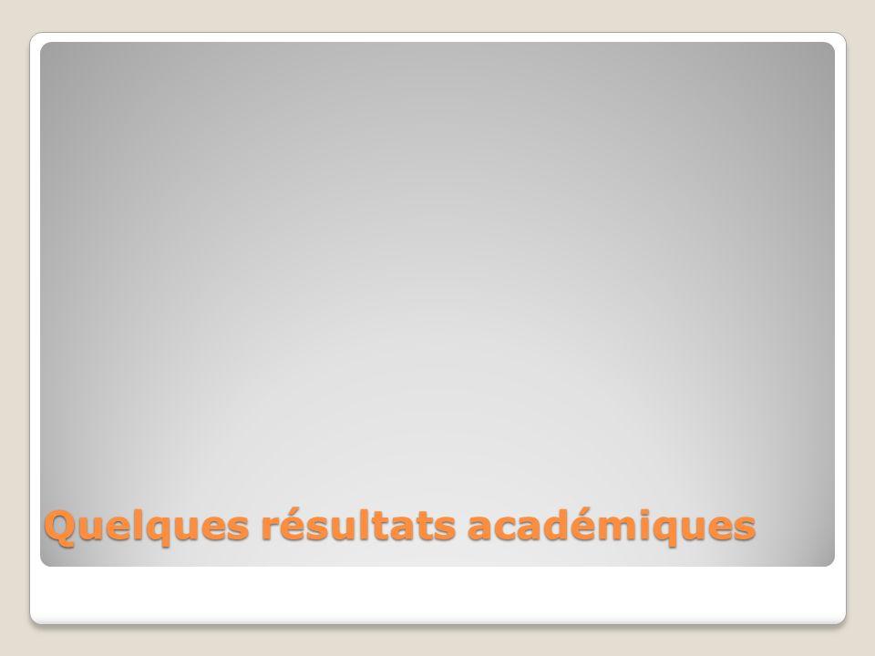 Quelques résultats académiques