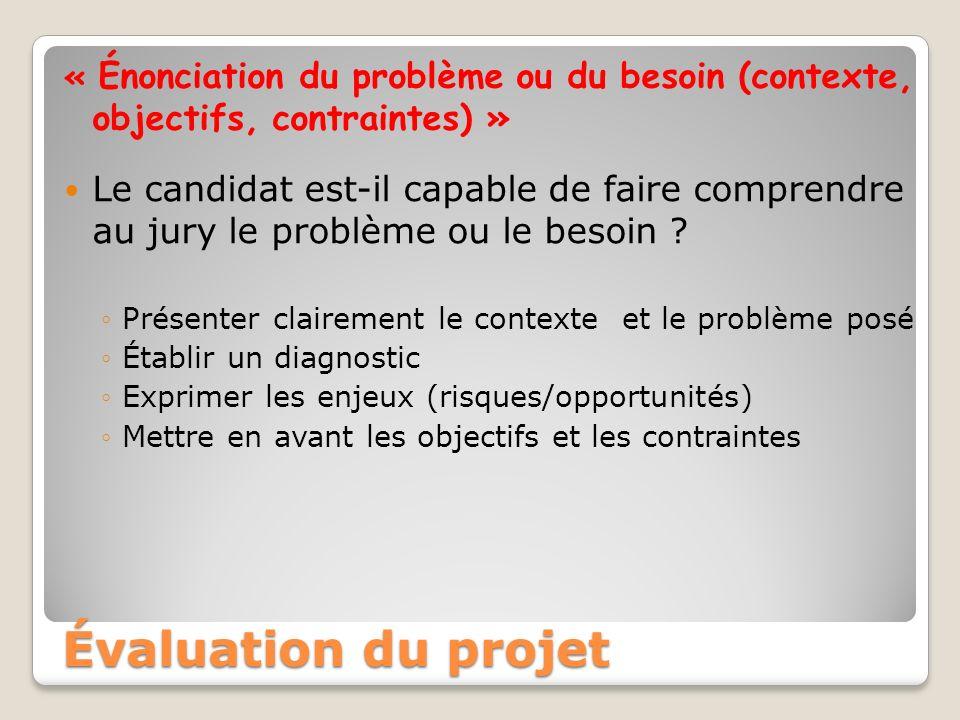« Énonciation du problème ou du besoin (contexte, objectifs, contraintes) » Le candidat est-il capable de faire comprendre au jury le problème ou le b
