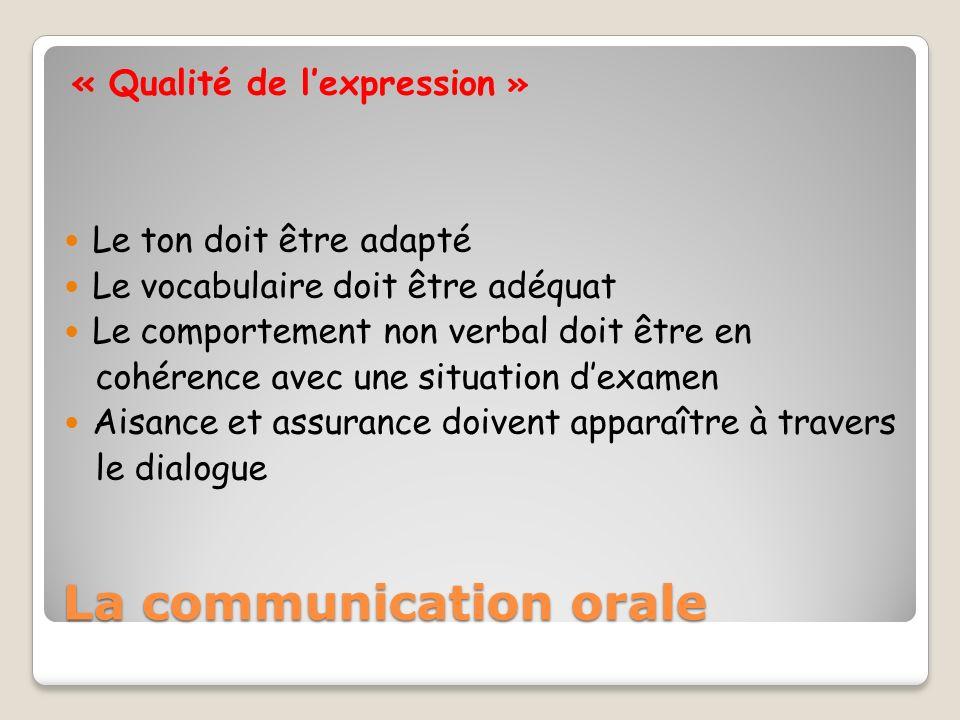« Qualité de lexpression » Le ton doit être adapté Le vocabulaire doit être adéquat Le comportement non verbal doit être en cohérence avec une situati