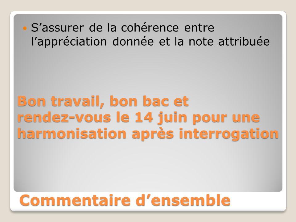 Commentaire densemble Sassurer de la cohérence entre lappréciation donnée et la note attribuée Bon travail, bon bac et rendez-vous le 14 juin pour une harmonisation après interrogation