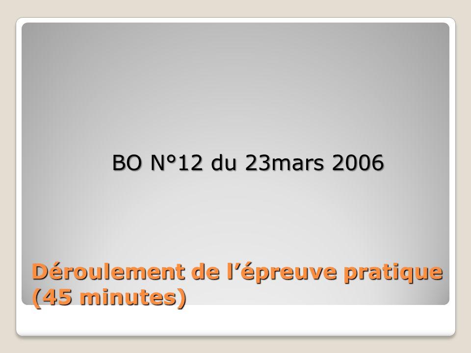 Déroulement de lépreuve pratique (45 minutes) BO N°12 du 23mars 2006