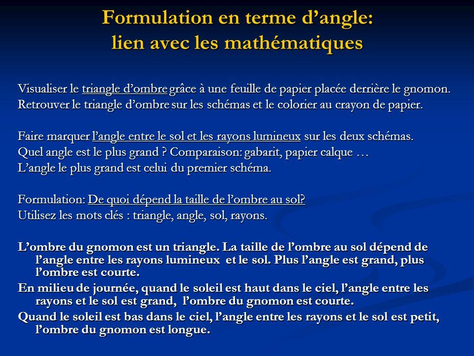 Formulation en terme dangle: lien avec les mathématiques Visualiser le triangle dombre grâce à une feuille de papier placée derrière le gnomon. Retrou