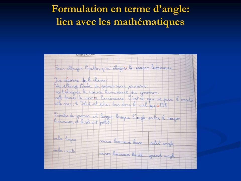 Formulation en terme dangle: lien avec les mathématiques