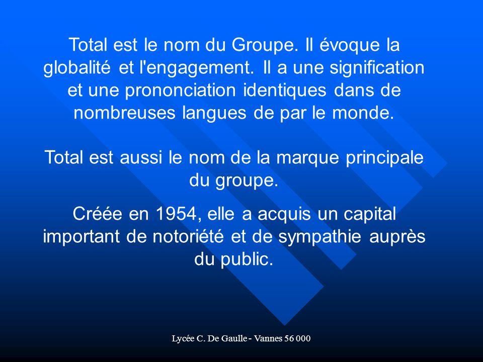 Lycée C.De Gaulle - Vannes 56 000 Total est le nom du Groupe.