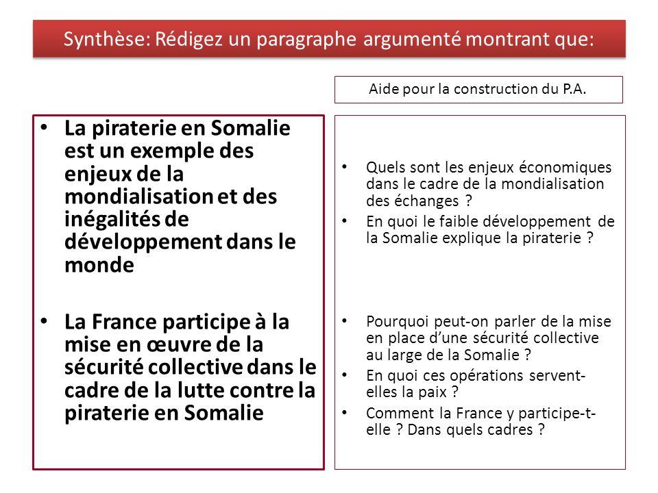 Synthèse: Rédigez un paragraphe argumenté montrant que: La piraterie en Somalie est un exemple des enjeux de la mondialisation et des inégalités de dé