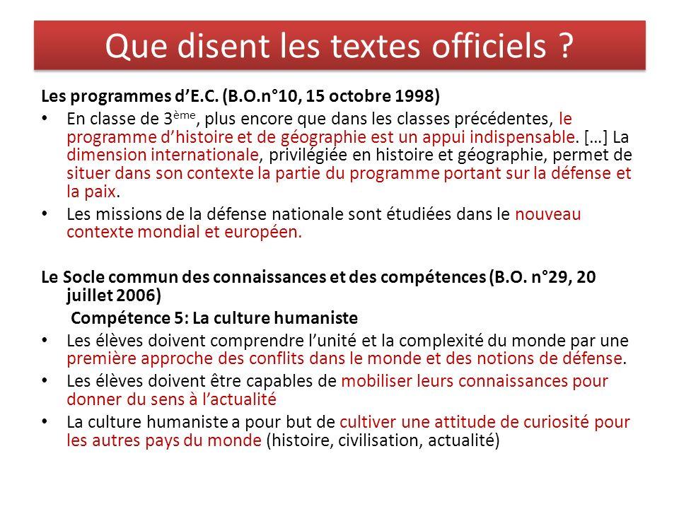 Que disent les textes officiels ? Les programmes dE.C. (B.O.n°10, 15 octobre 1998) En classe de 3 ème, plus encore que dans les classes précédentes, l