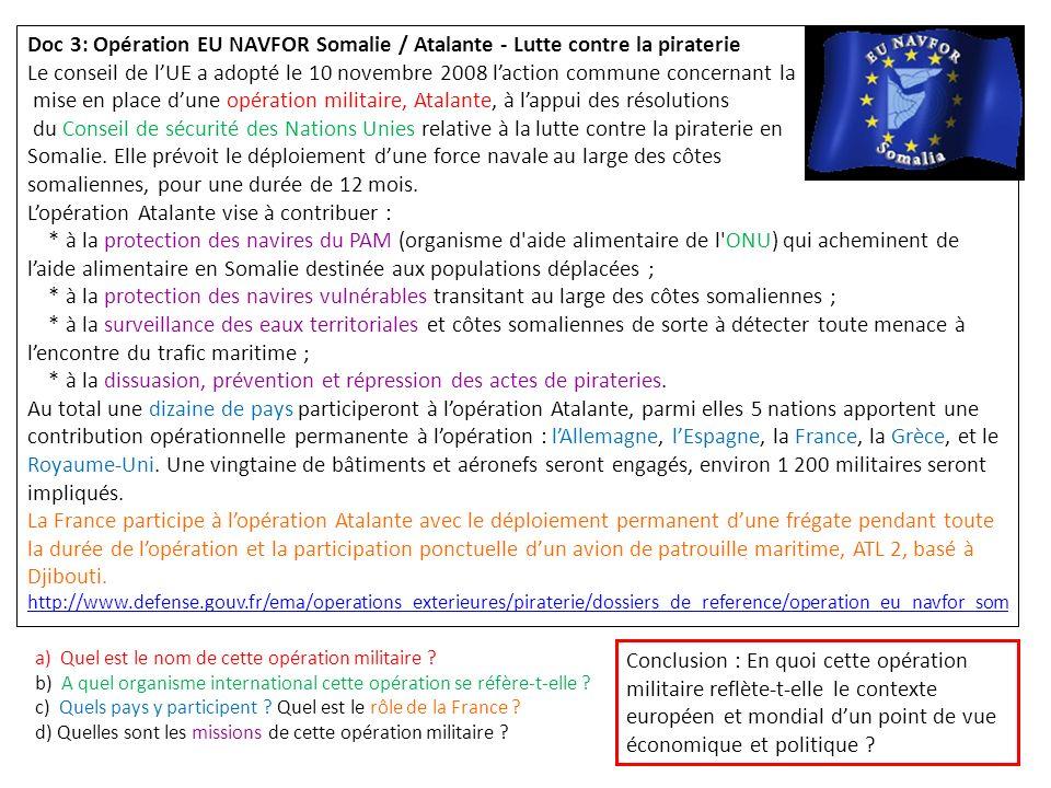 Doc 3: Opération EU NAVFOR Somalie / Atalante - Lutte contre la piraterie Le conseil de lUE a adopté le 10 novembre 2008 laction commune concernant la