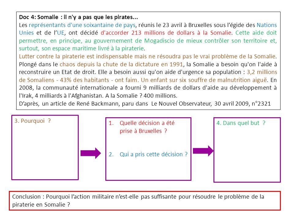 Doc 4: Somalie : il n'y a pas que les pirates... Les représentants d'une soixantaine de pays, réunis le 23 avril à Bruxelles sous légide des Nations U