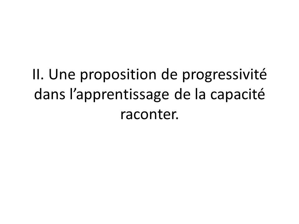 II. Une proposition de progressivité dans lapprentissage de la capacité raconter.