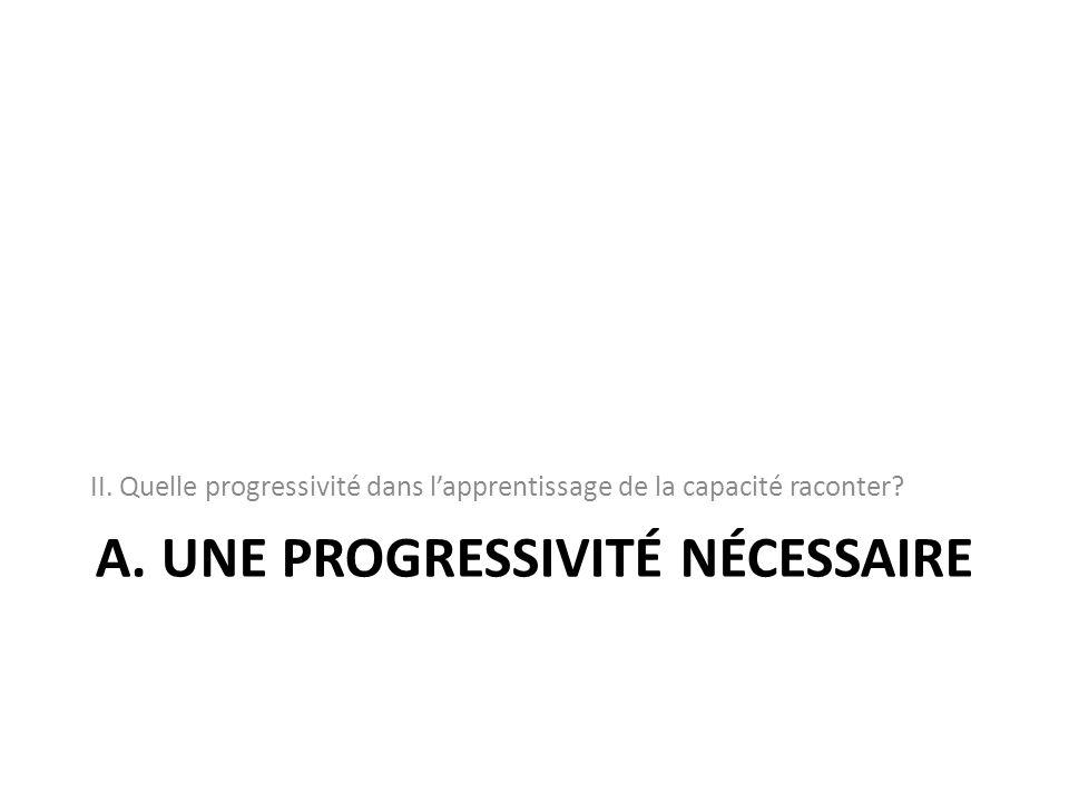 A. UNE PROGRESSIVITÉ NÉCESSAIRE II. Quelle progressivité dans lapprentissage de la capacité raconter?