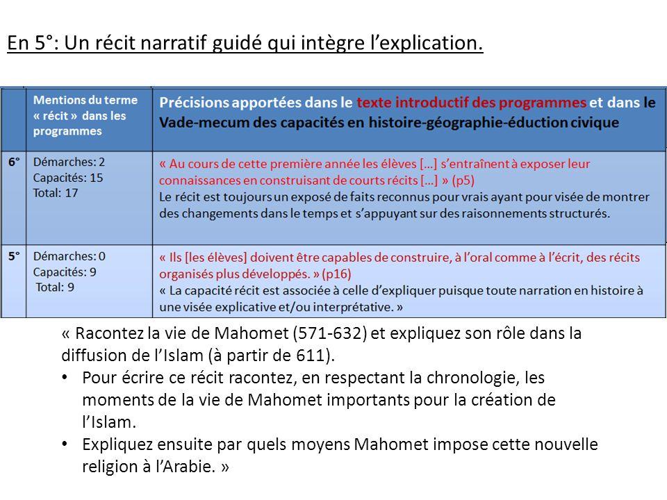 En 5°: Un récit narratif guidé qui intègre lexplication. « Racontez la vie de Mahomet (571-632) et expliquez son rôle dans la diffusion de lIslam (à p