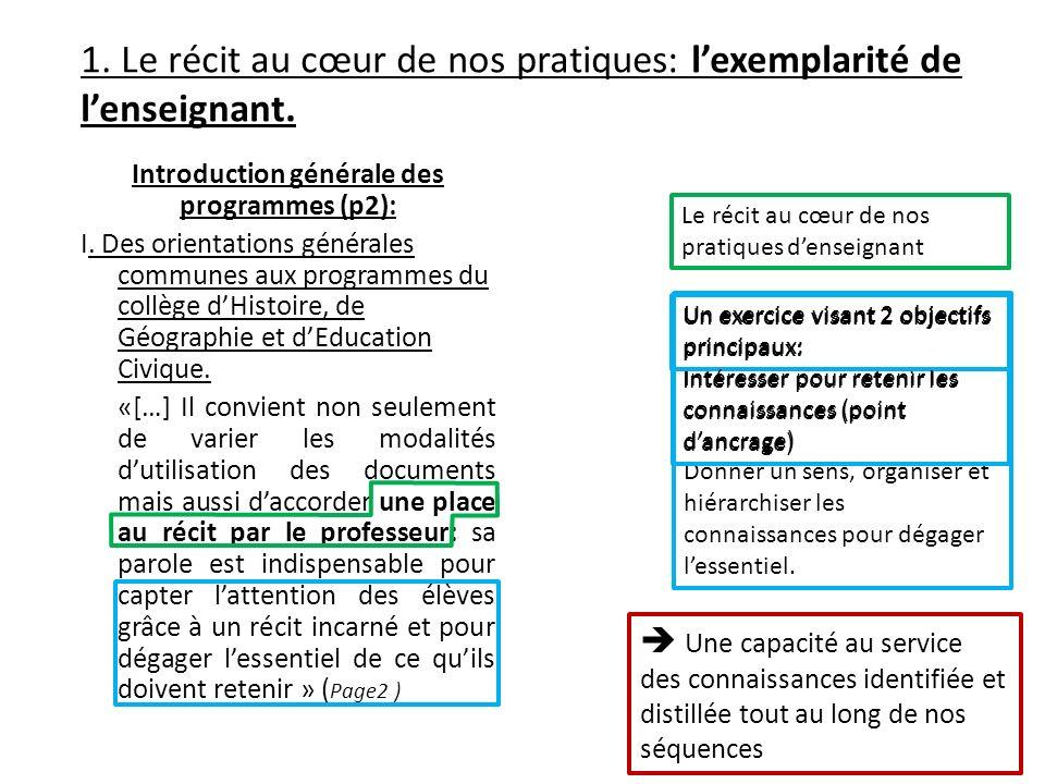 1. Le récit au cœur de nos pratiques: lexemplarité de lenseignant. Introduction générale des programmes (p2): I. Des orientations générales communes a