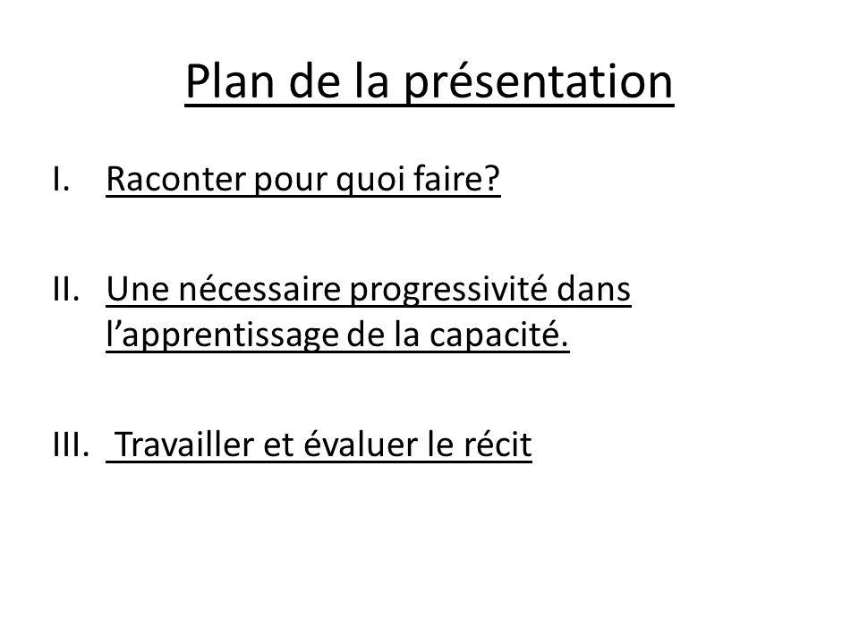 Plan de la présentation I.Raconter pour quoi faire? II.Une nécessaire progressivité dans lapprentissage de la capacité. III. Travailler et évaluer le