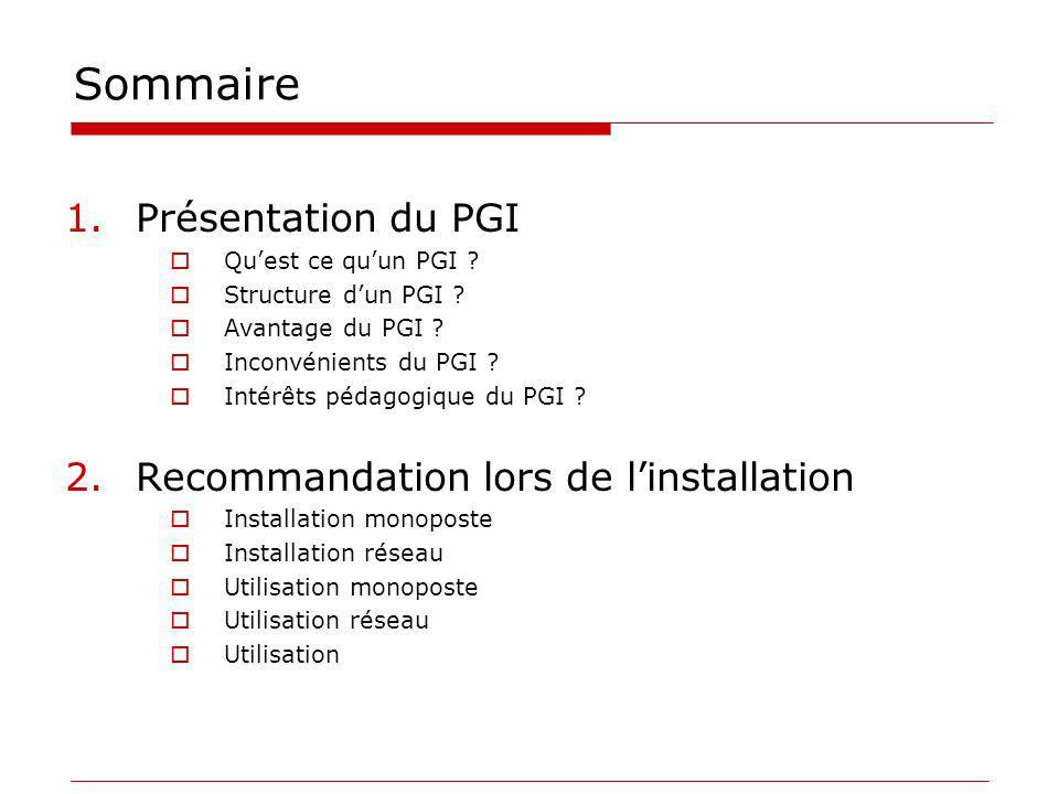Sommaire 1.Présentation du PGI Quest ce quun PGI ? Structure dun PGI ? Avantage du PGI ? Inconvénients du PGI ? Intérêts pédagogique du PGI ? 2.Recomm