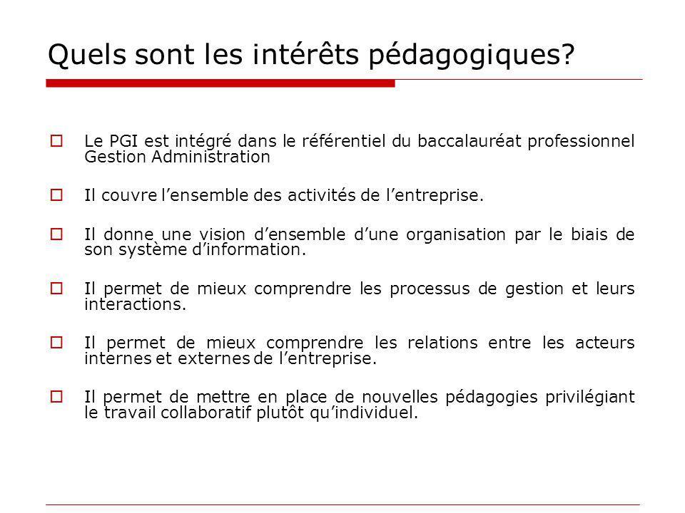 Quels sont les intérêts pédagogiques? Le PGI est intégré dans le référentiel du baccalauréat professionnel Gestion Administration Il couvre lensemble