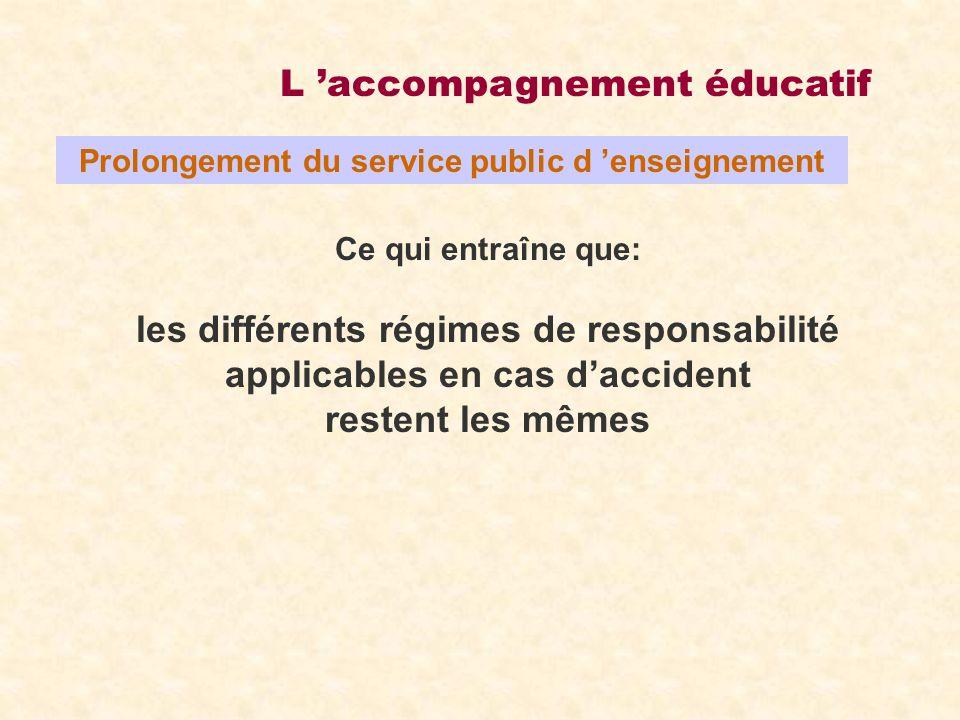 L accompagnement éducatif Le rôle du directeur Il garantit l efficacité et la sûreté du dispositif Il peut désigner un responsable de site parmi les enseignants