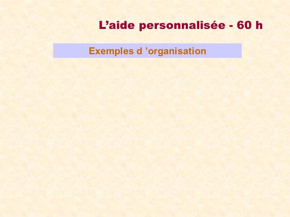 Laide personnalisée - 60 h Exemples d organisation