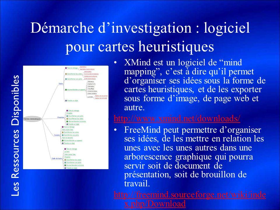 Les Ressources Disponibles Démarche dinvestigation : logiciel pour cartes heuristiques XMind est un logiciel de mind mapping, cest à dire quil permet