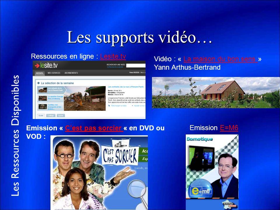 Les Ressources Disponibles Les supports vidéo… Emission « Cest pas sorcier « en DVD ou VOD :Cest pas sorcier Emission E=M6E=M6 Vidéo : « La maison du