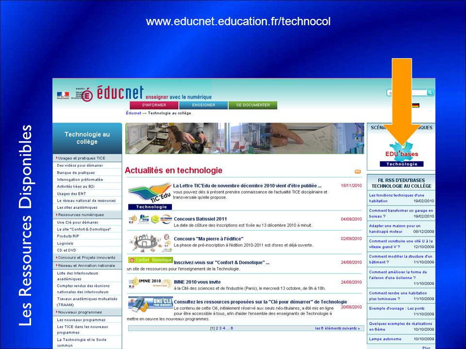 Les Ressources Disponibles www.educnet.education.fr/technocol
