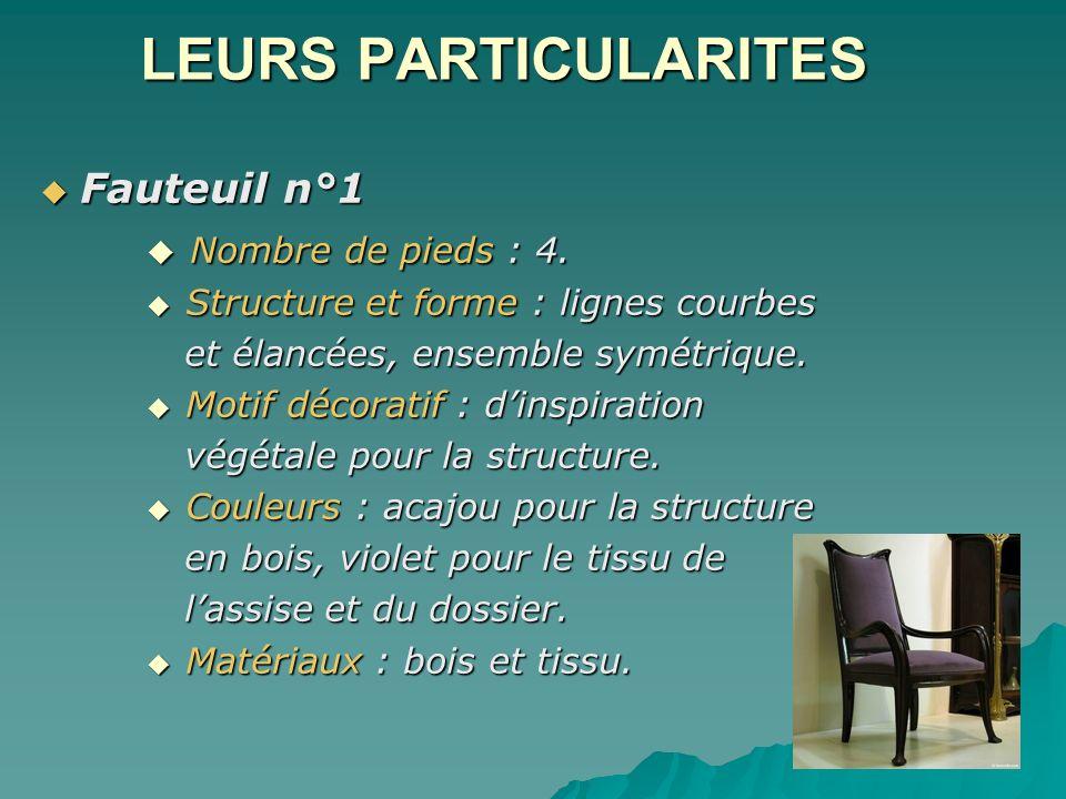 LEURS PARTICULARITES Fauteuil n°1 Fauteuil n°1 Nombre de pieds : 4. Nombre de pieds : 4. Structure et forme : lignes courbes Structure et forme : lign