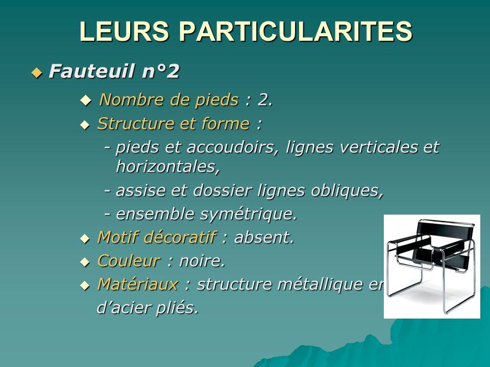 LEURS PARTICULARITES Fauteuil n°2 Fauteuil n°2 Nombre de pieds : 2. Nombre de pieds : 2. Structure et forme : Structure et forme : -pieds et accoudoir