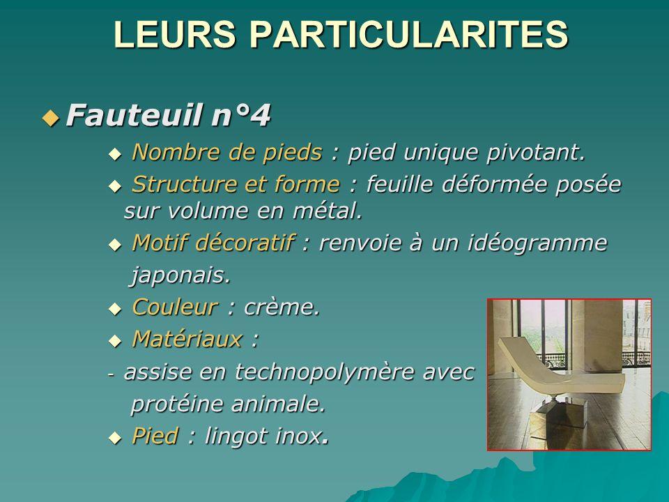 LEURS PARTICULARITES Fauteuil n°4 Fauteuil n°4 Nombre de pieds : pied unique pivotant. Nombre de pieds : pied unique pivotant. Structure et forme : fe