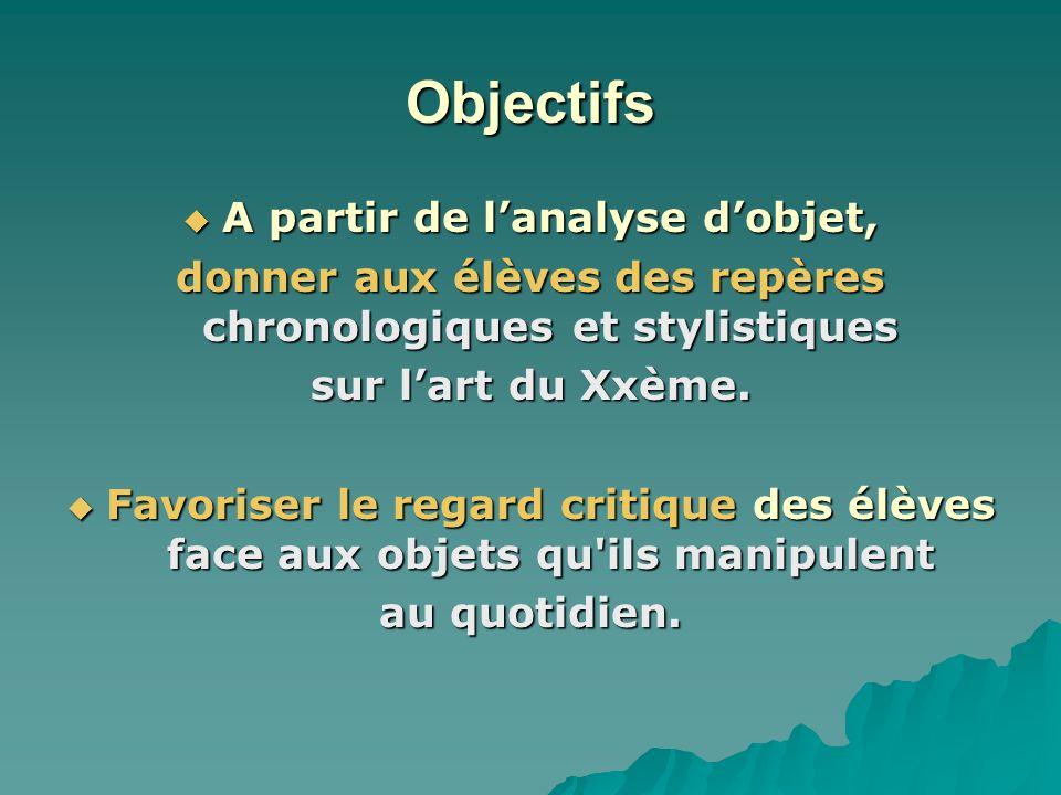 Objectifs A partir de lanalyse dobjet, A partir de lanalyse dobjet, donner aux élèves des repères chronologiques et stylistiques sur lart du Xxème. Fa