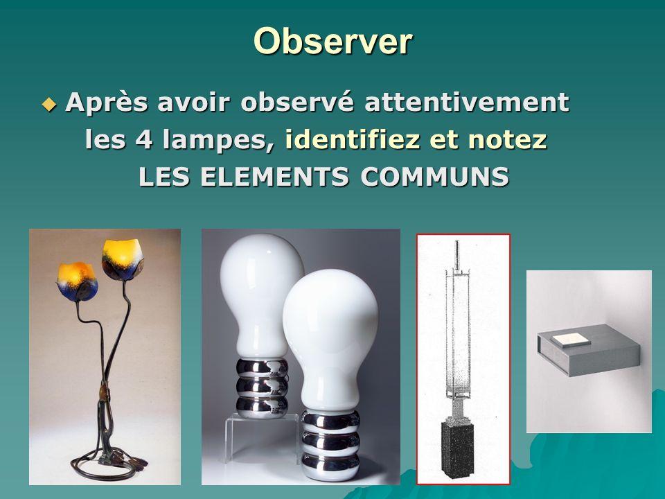Observer Après avoir observé attentivement Après avoir observé attentivement les 4 lampes, identifiez et notez les 4 lampes, identifiez et notez LES E