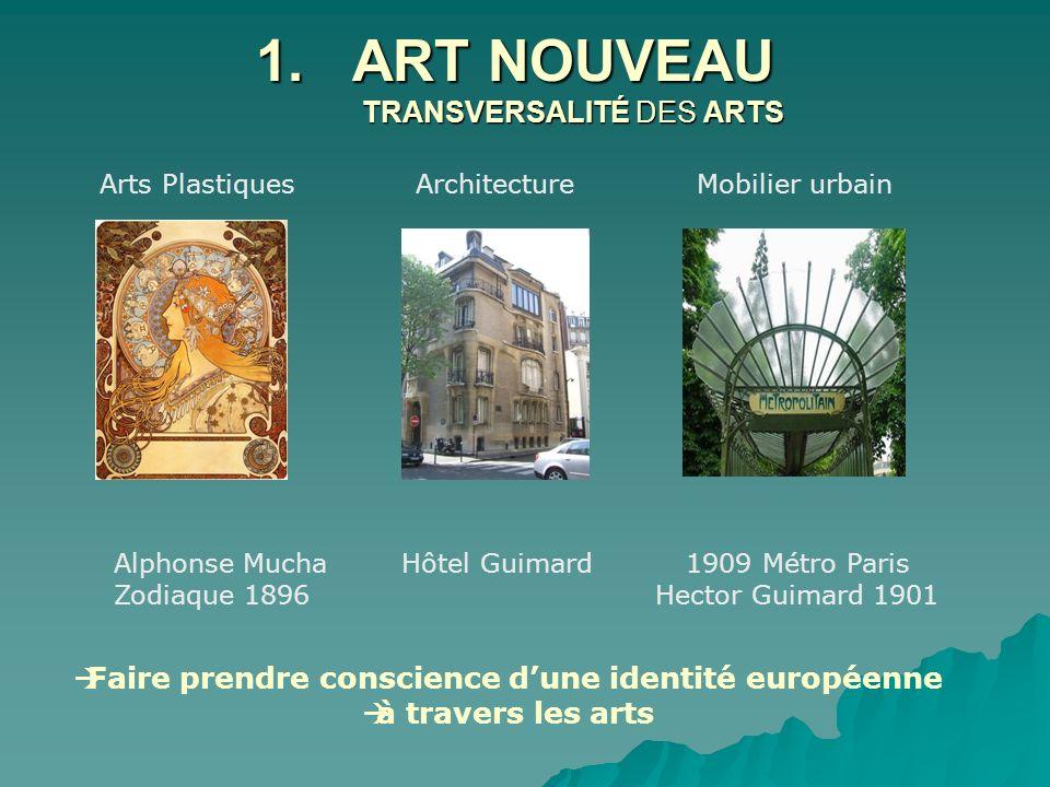 1.ART NOUVEAU TRANSVERSALITÉ DES ARTS Arts Plastiques Architecture Mobilier urbain Alphonse Mucha Hôtel Guimard 1909 Métro Paris Zodiaque 1896 Hector