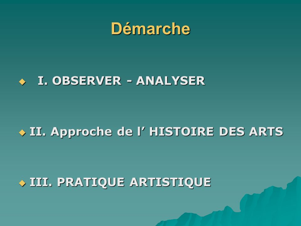 Démarche I. OBSERVER - ANALYSER I. OBSERVER - ANALYSER II. Approche de l HISTOIRE DES ARTS II. Approche de l HISTOIRE DES ARTS III. PRATIQUE ARTISTIQU