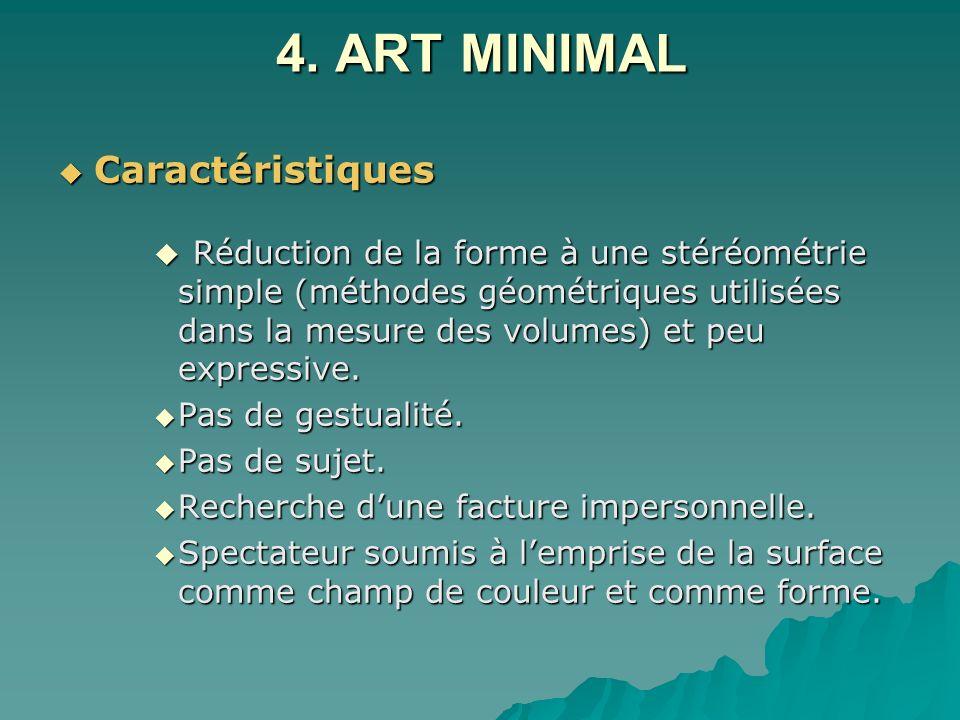 4. ART MINIMAL Caractéristiques Caractéristiques Réduction de la forme à une stéréométrie simple (méthodes géométriques utilisées dans la mesure des v