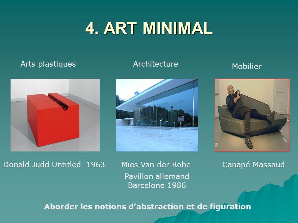 4. ART MINIMAL Arts plastiquesArchitecture Mobilier Donald Judd Untitled 1963Mies Van der RoheCanapé Massaud Pavillon allemand Barcelone 1986 Aborder