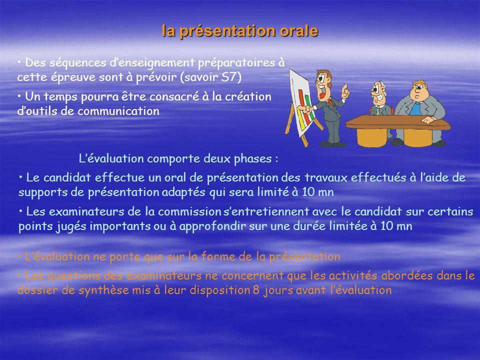 la présentation orale Lévaluation comporte deux phases : Le candidat effectue un oral de présentation des travaux effectués à laide de supports de pré