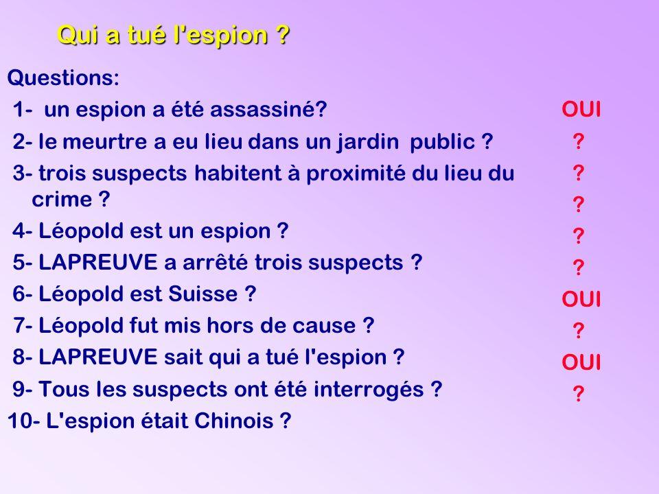 OUI ? ? ? ? ? ? ? Qui a tué l'espion ? Questions: 1- un espion a été assassiné? 2- le meurtre a eu lieu dans un jardin public ? 3- trois suspects habi