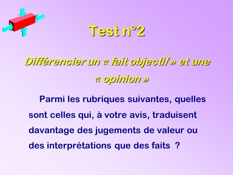 Test n°2 Différencier un « fait objectif » et une « opinion » Parmi les rubriques suivantes, quelles sont celles qui, à votre avis, traduisent davanta