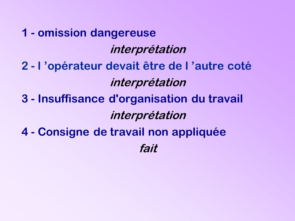 1 - omission dangereuse interprétation 2 - l opérateur devait être de l autre coté interprétation 3 - Insuffisance d'organisation du travail interprét