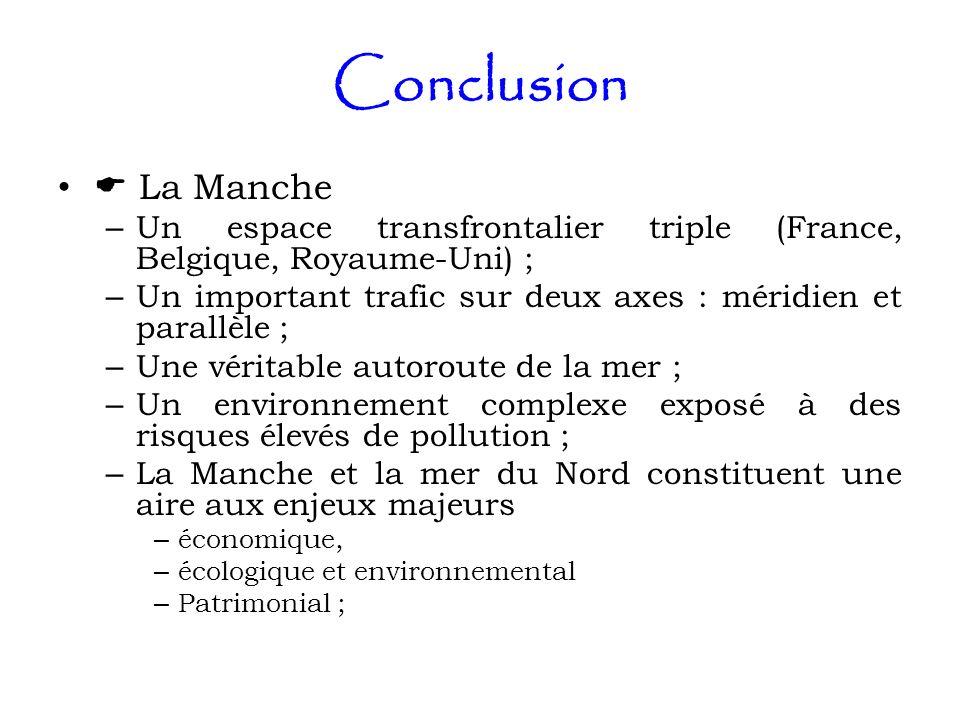 Conclusion La Manche – Un espace transfrontalier triple (France, Belgique, Royaume-Uni) ; – Un important trafic sur deux axes : méridien et parallèle